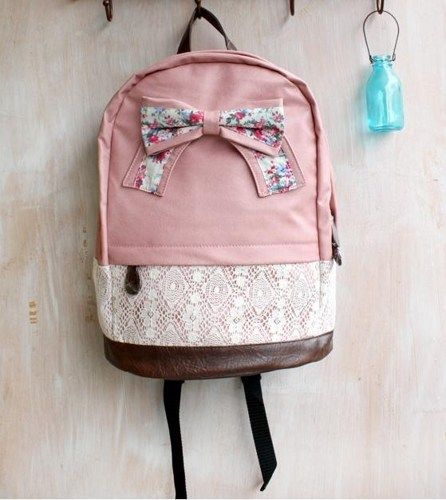 Cute Floral Bow and Lace Pu Leather Backpack for Girls