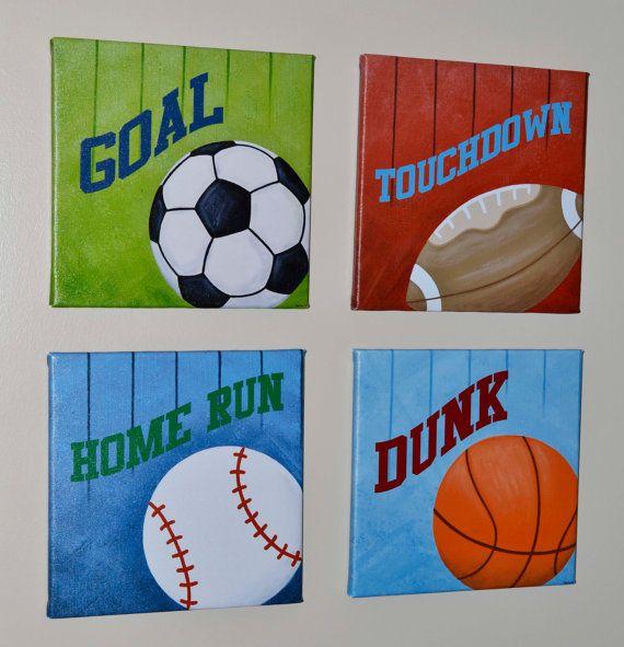 Wall Decorations Sports : Sports wall art print original painting canvas