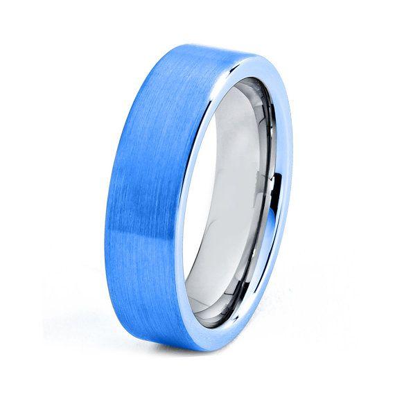 Blue Titanium Ring Blue Men Titanium Rings Blue Wedding Bands Blue