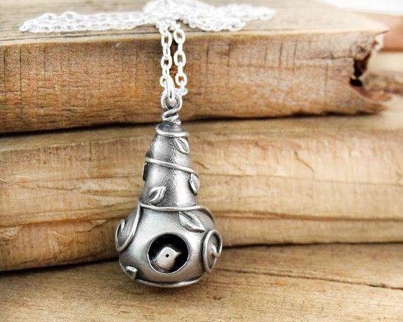 Handmade birdhouse necklace no. 6