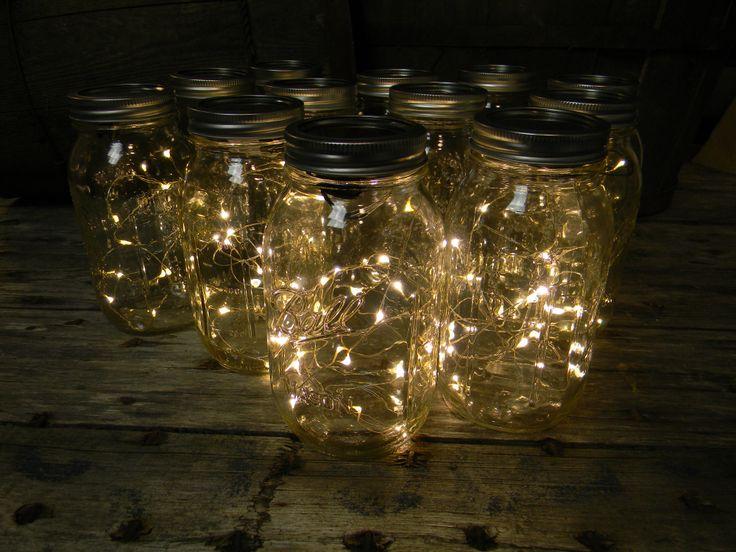 Quart Mason Jars With Warm White Fairy Lights, Set of 12