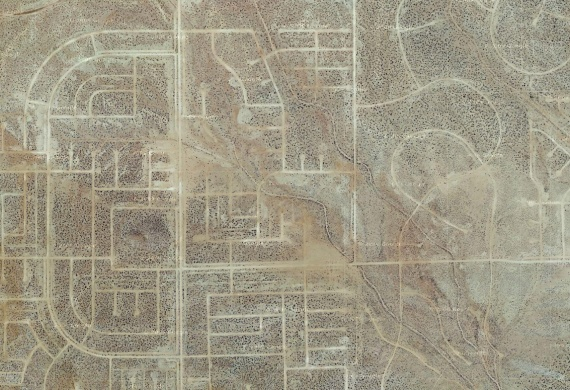 california city, the unbuilt suburb - there is absolutely nothing lining these streets, no houses, no electric grid, nothing. the roads form an empty ghost-grid, a mirage of suburbia still waiting to be filled.