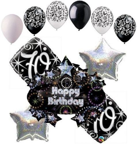 11pc 70th happy birthday balloon decoration party elegant for Decoration 70th birthday
