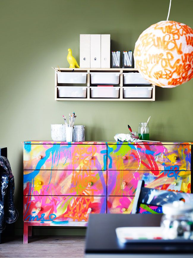 Wow amazing colourful dresser! Craft room or teen bedroom funky storage