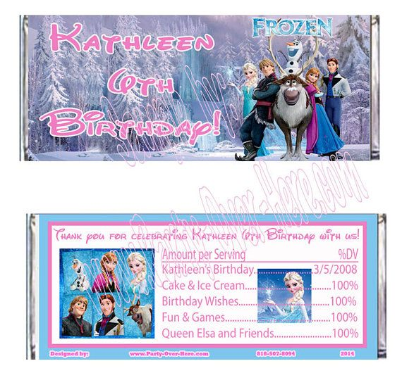 Disney Frozen Candy Wrappers