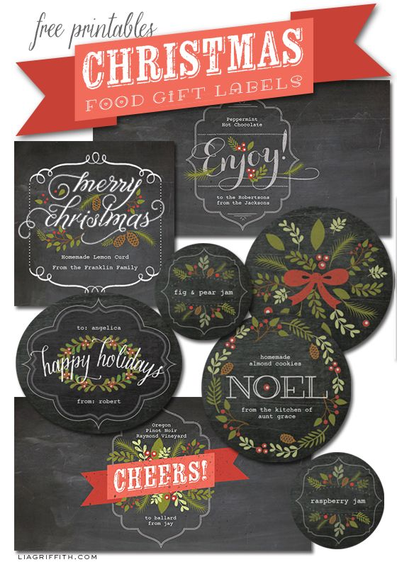 Christmas Food Label Printables by Lia Griffith