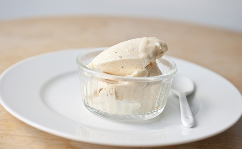 peach ice cream with sour cream and black pepper
