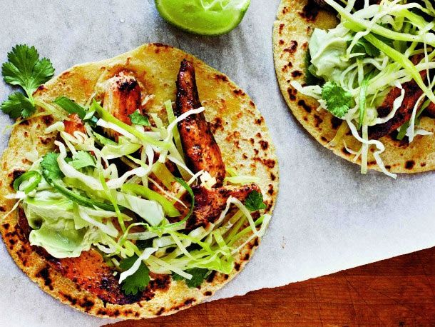 ... Light's Ancho Chicken Tacos with Cilantro Slaw and Avocado Cream