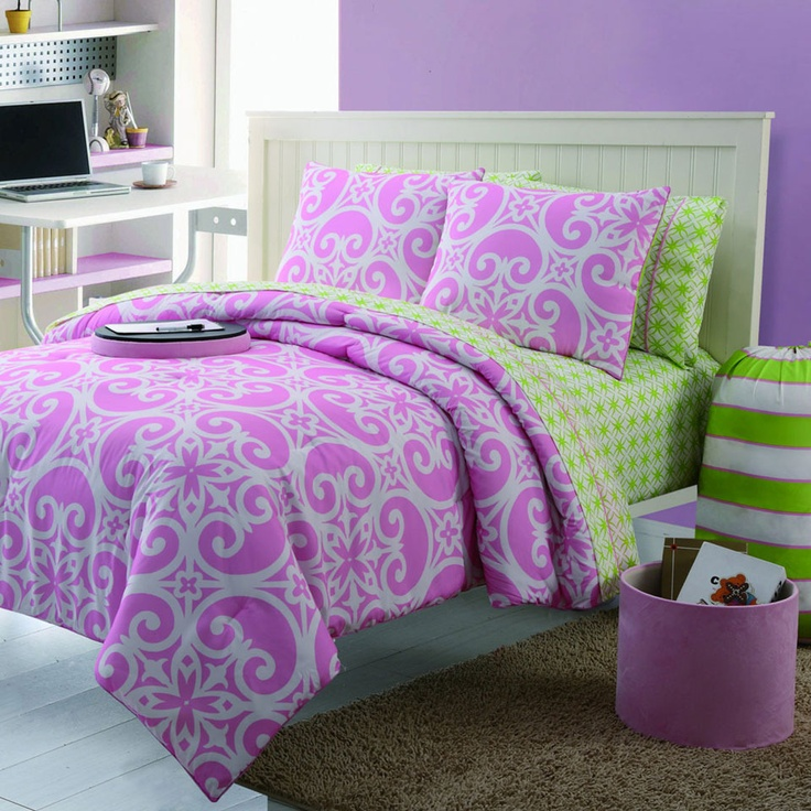 Kendall bedding in purple green for the home pinterest - Green and purple comforter ...