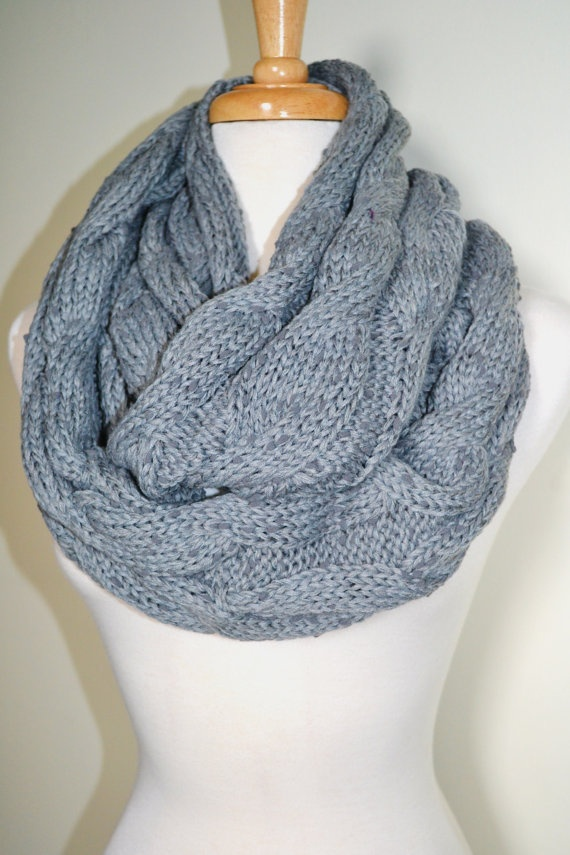 BLACK Chunky Knitted Infinity Loop Circle Scarf Cable Pattern Gift Id ...