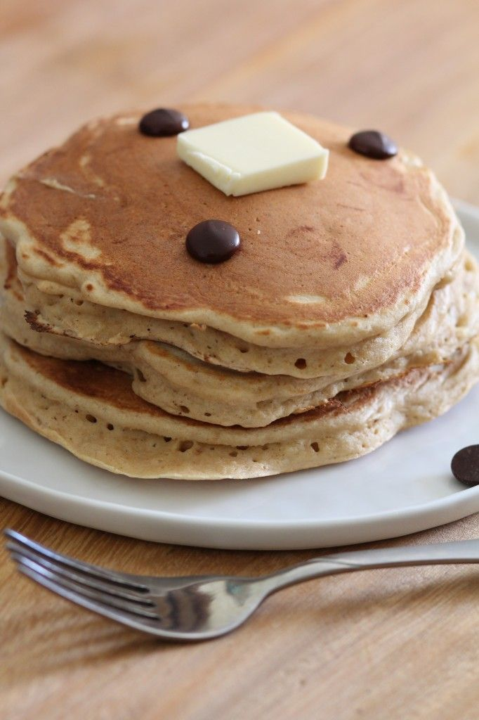 Banana Peanut Butter and Chocolate Chip Pancakes from Pidges Pantry