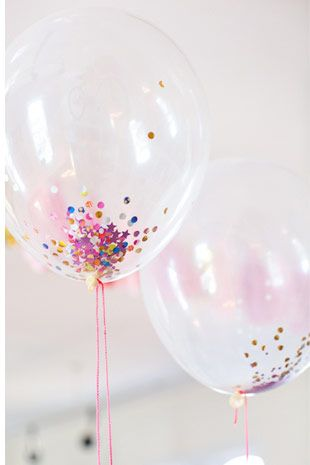 Confetti  Filled  Balloons  -  Read  more  on  One  Fab  Day:  http://onefabday.com/wedding-balloon-ideas/