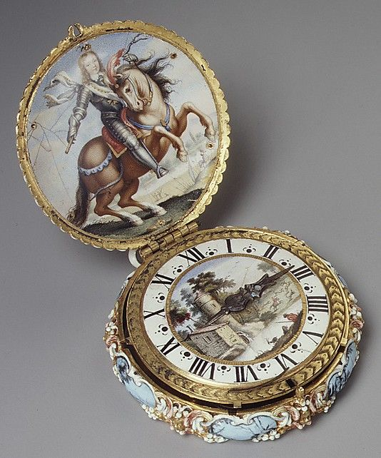"""The decoration of this elaborately jeweled pocket watch includes a depiction of the young Louis XIV on horseback and a miniature with the arms of France and Navarre and the Orders of Saint Michael and the Holy Spirit. It was presumably made for the young king, and is one of the most important surviving watches of its period."" (Dates to 1650; made of enamel & gold; text from Metropolitan Museum)"