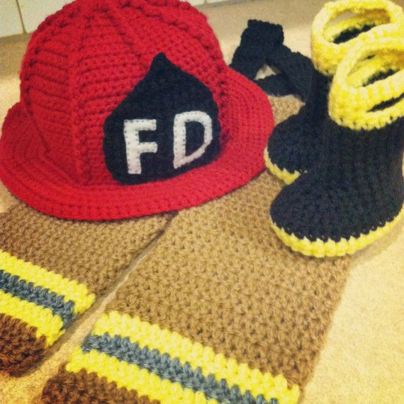 Crochet Patterns For Baby Frocks : Firefighter crochet newborn photo prop outfit