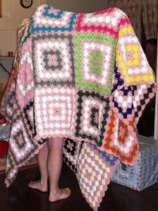 hand-made crochet queen-size blanket made by my sister for my other ...