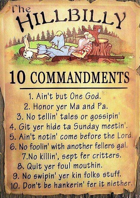 Hillbilly 10 Commandments