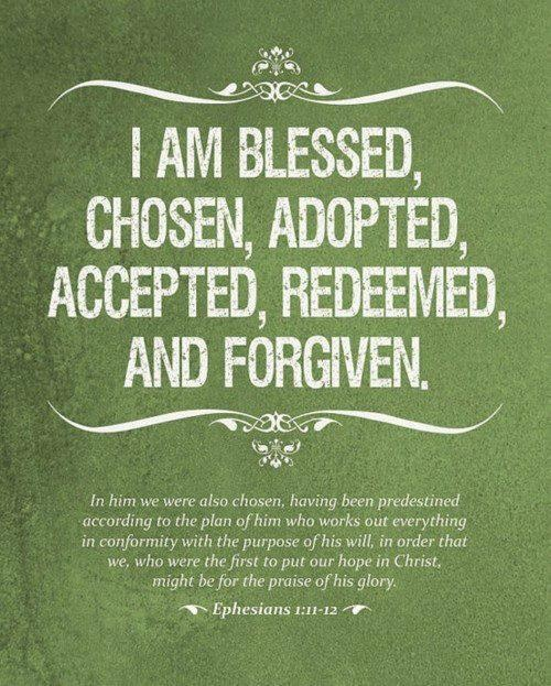 I am blessed, chosen, adopted, accepted, redeemed, and forgiven...wow!