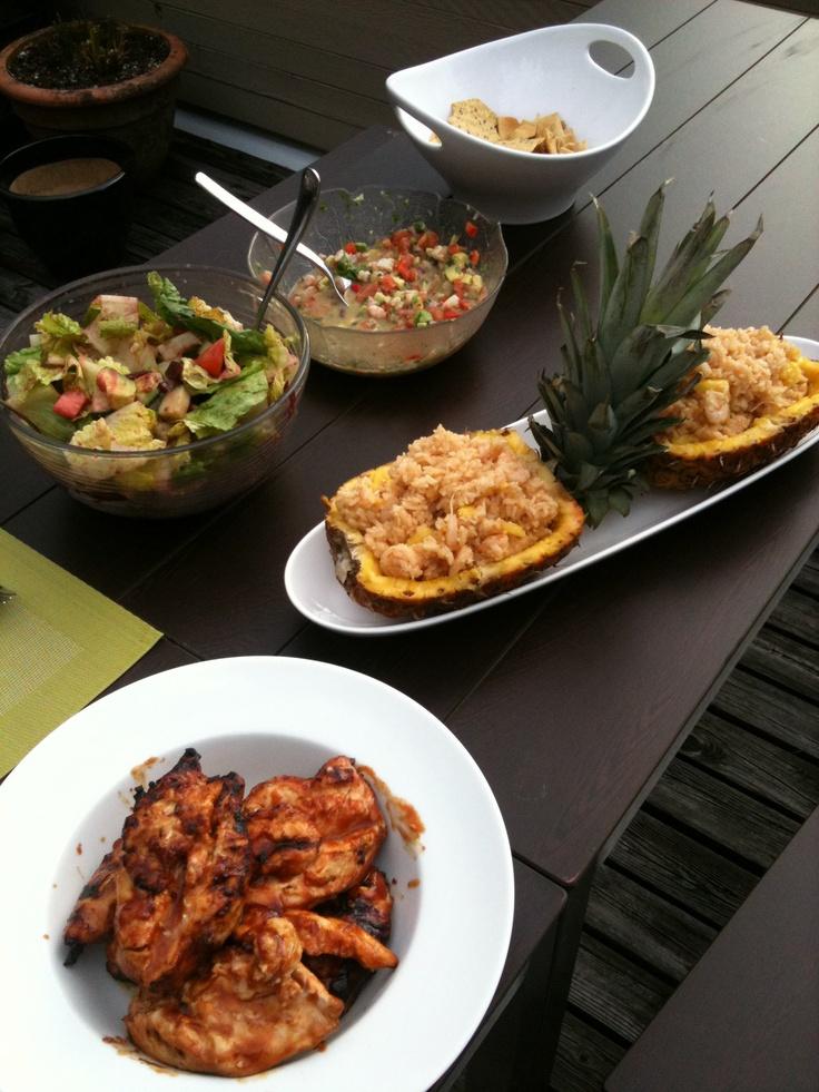 ... tomato beat salad - shrimp pineapple rice - teriyaki bbq chicken