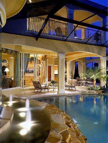 Beautiful Backyard Pool and living area Geez! #RealPalmTrees