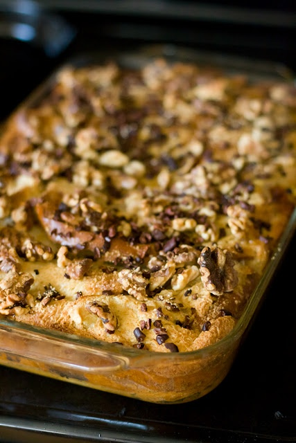 Baked French Toast with Bananas, Walnuts, and Cacao Nibs | Recipe