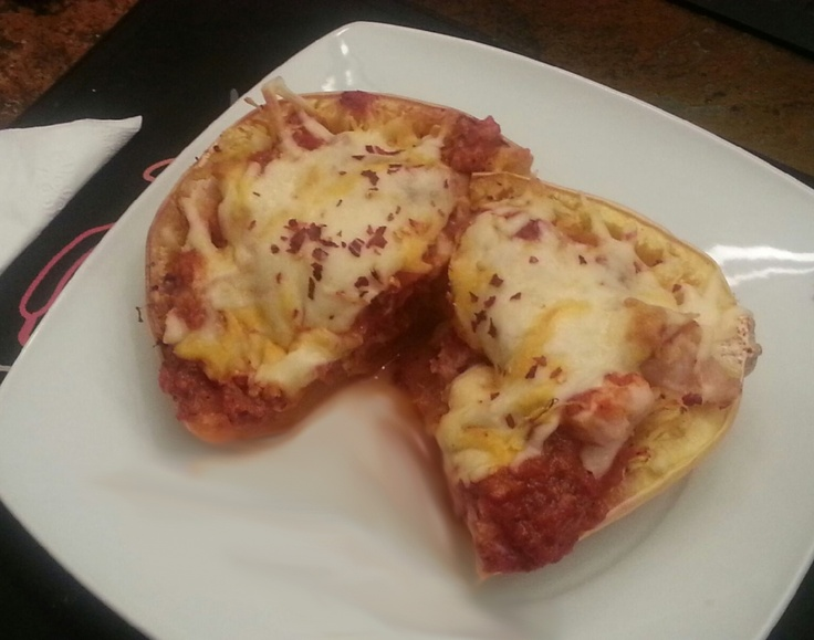 Cheesy Baked Spaghetti Squash Boats With Grilled Chicken ...