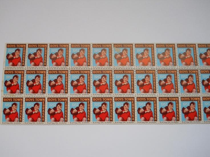 Father Flanagan's Boys Home. Boys Town, Nebraska  1952 Annual Seal Stamp