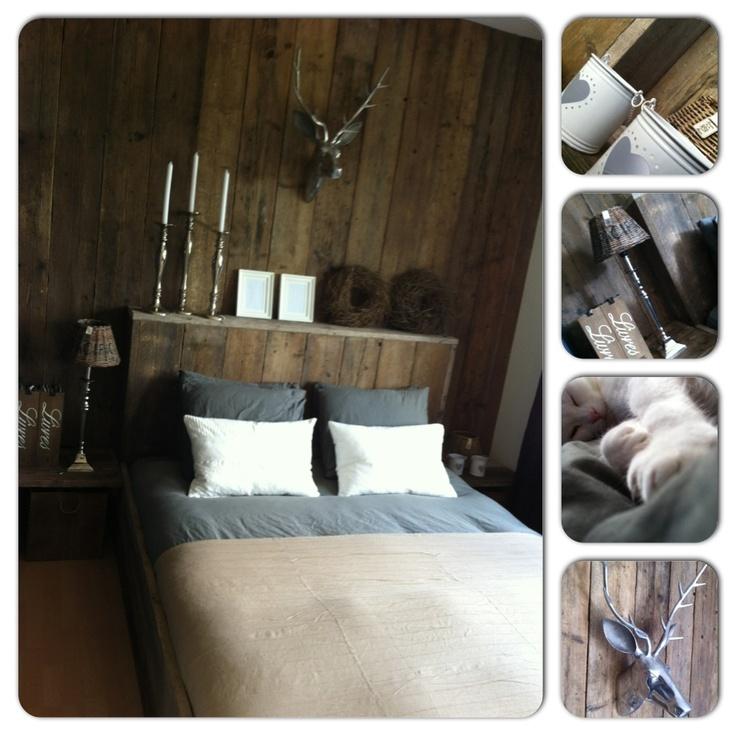 Slaapkamer met steigerhout  slaapkamers  Pinterest