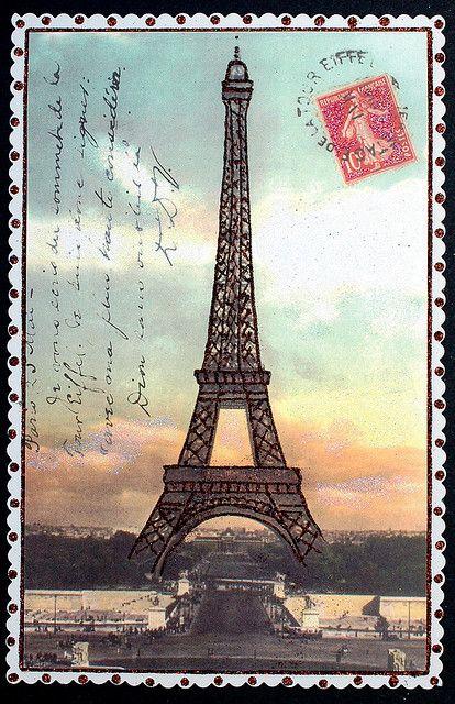 Vintage Eiffel Tower Postcard Eiffel Tower Pinterest