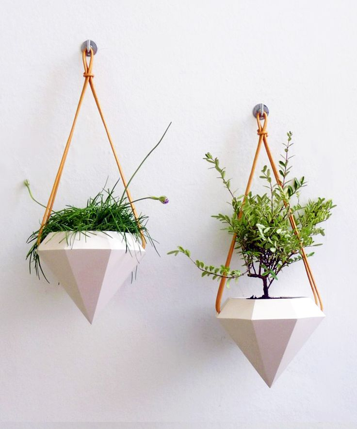 are huge in home decor right now, and these diamond hanging planters ...