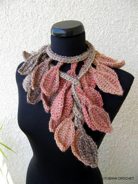 Crochet Scarf Pattern Leaf : Falling leaves scarf Crochet Shawls and Scarfs Pinterest