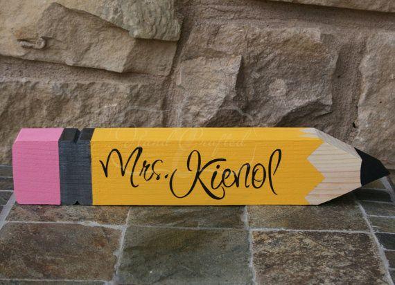 Wooden Pencil DeskName Plate personalized GREAT TEACHER