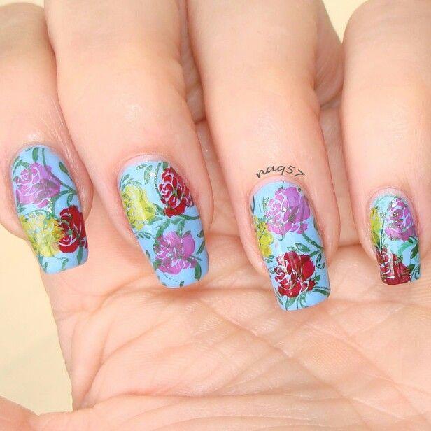 roses nail art design | Nail Art by Nora | Pinterest