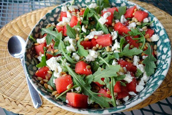 Watermelon, Feta and Arugula Salad #recipe substitute mixed greens