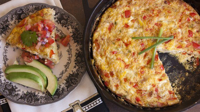 ... of Muy Bueno bakes up a Mexican-style omelet, topped with spicy salsa