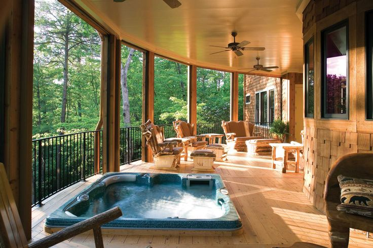 Back covered porch hot tub hot tub ideas pinterest for Covered back porch plans