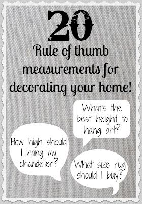 Helpful decorating measurements for making Crafts to decorate your home~