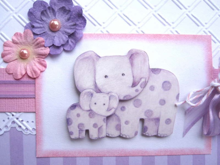 new baby girl or baby shower card purple elephants can be personalized