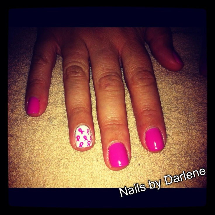 Breast Cancer nails - Hot Pop Pink Shellac