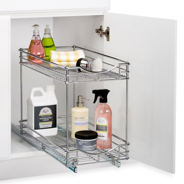 Drawer slides under cabinet sliding drawer storage rack for Under cabinet storage racks