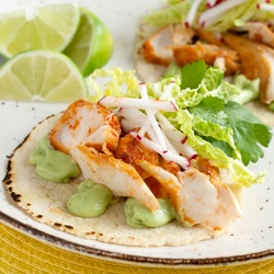 These Spicy Fish Tacos pair pan-fried chipotle-lime whitefish with a ...