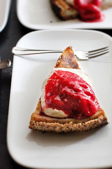 vegan vanilla cake, with cashew & raspberry cream.
