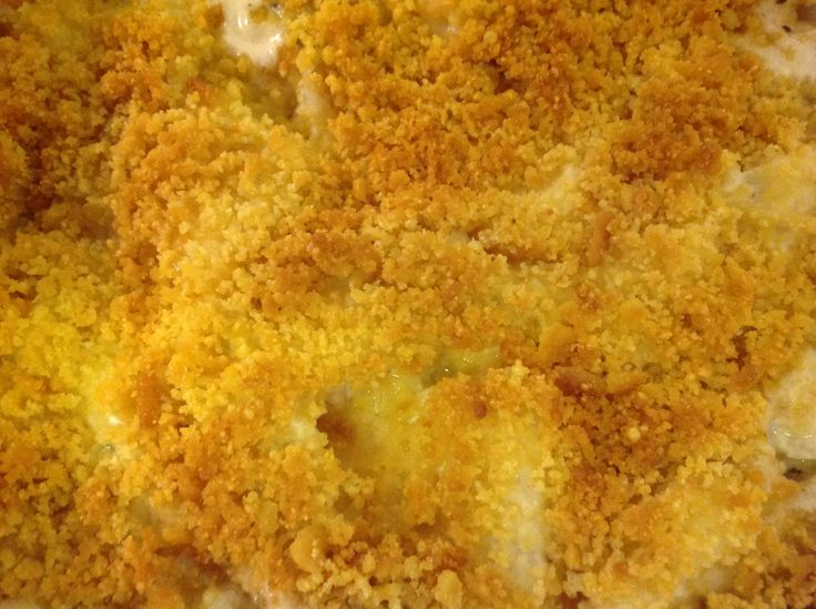 Baked cod fish fillet top with crushed Ritz crackers & grated Parmesan ...