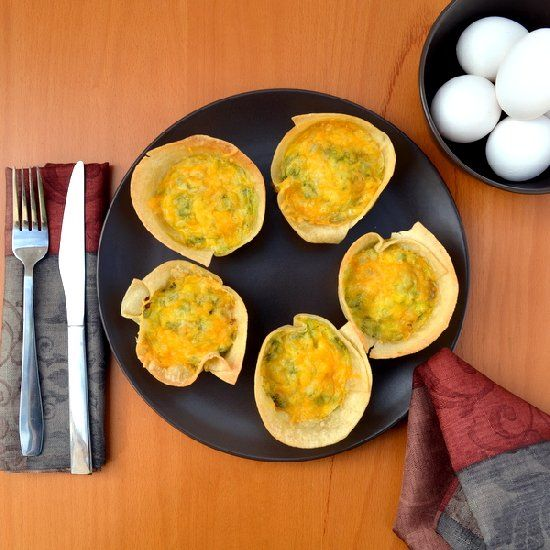 Eggs, sausage and cheese in a tortilla cup. Make ahead and refrigerate ...