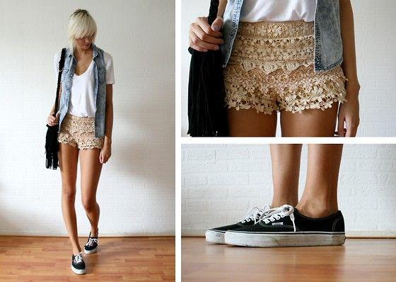 Romwe Denim Shirt, Chicwish Shorts And Fringed Bag, Vans Sneakers