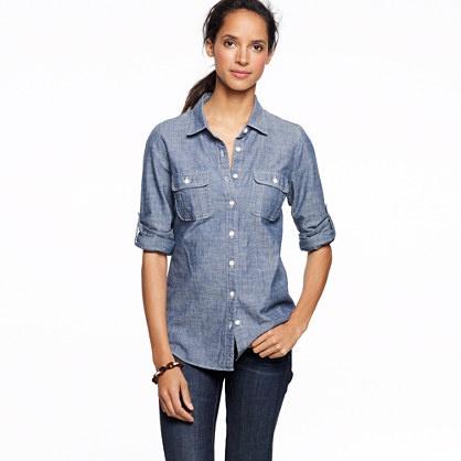Factory two-pocket chambray shirt