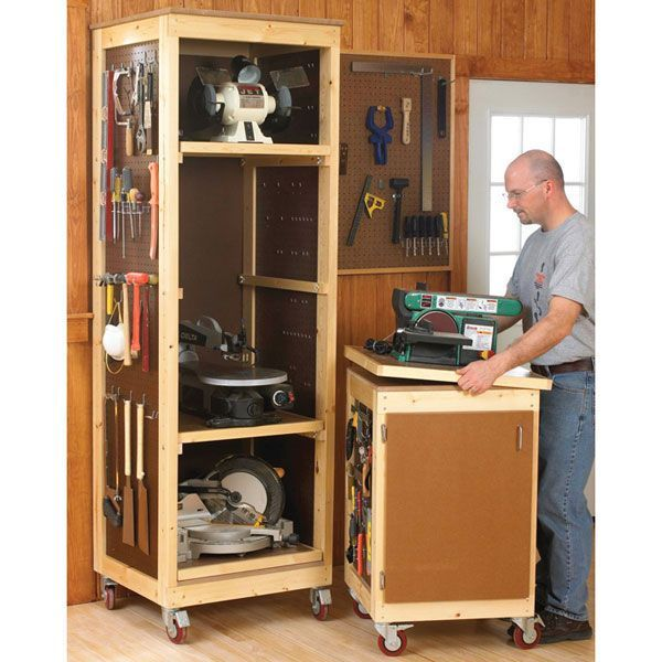 bench tool storage idea woodworking