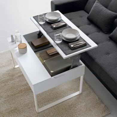 Pin by jena le gouard on living small pinterest - Petite table basse relevable ...