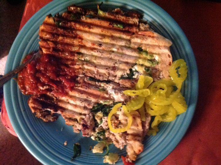 Seasoned ground turkey patties, goat cheese, avocado, and baby spinach ...
