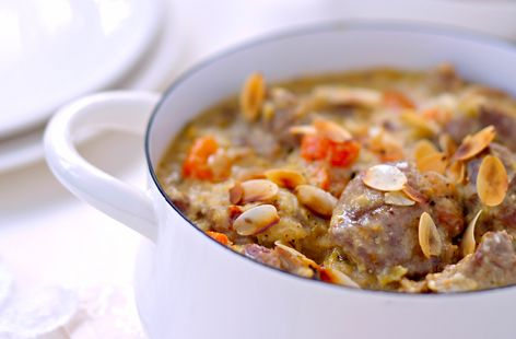 Beef stew with coconut milk and sliced almonds | Recipe