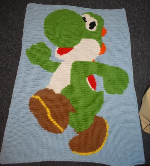 Crochet Patterns Yoshi : Crotchet Yoshi blanket Super Mario Brothers Pinterest